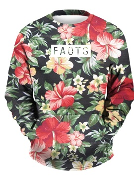 3D Floral Men Sweater Round Neck Cool Hoodies