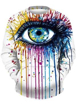 Cool Long Sleeve Colorful Eye Pattern 3D Painted Hoodie