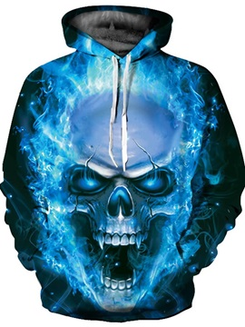Cool Long Sleeve Skull Roar Pattern 3D Painted Hoodie