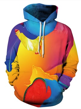 Multicolor Long Sleeve Abtract Pattern Pocket 3D Painted Hoodie
