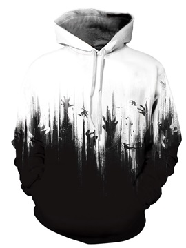 White and Black 3D Polyester Long Sleeve Cool Hoodie