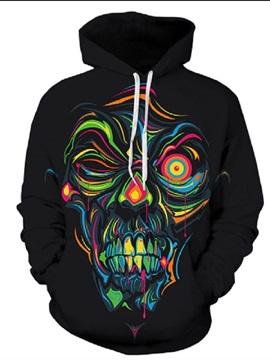 Long Sleeve Black Skull Pattern 3D Painted Hoodie
