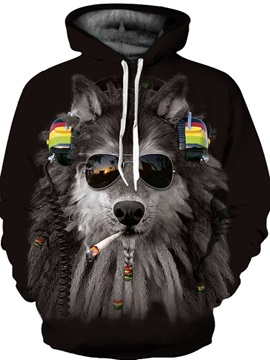 Long Sleeve Fashion Wolf Pattern Front Pocket 3D Painted Hoodie