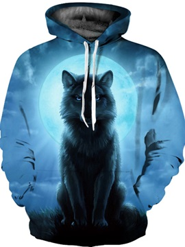 Special Long Sleeve Wolf Full Moon Pattern 3D Painted Hoodie