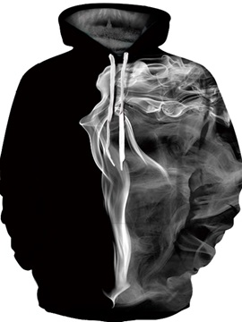 White Smoke Unisex Pullover Realistic 3D Painted Hoodie