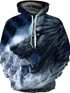 Long Sleeve Mad Wolf Pattern Front Pocket 3D Painted Hoodie