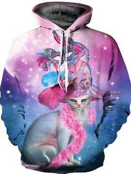 Special Long Sleeve Lady Cat Pattern Front Pocket 3D Painted Hoodie