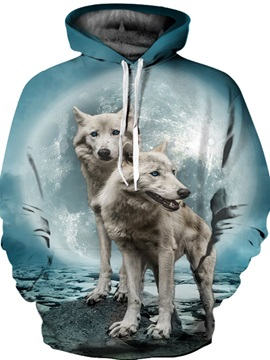 Fashion Long Sleeve White Wolves Pattern Front Pocket 3D Painted Hoodie