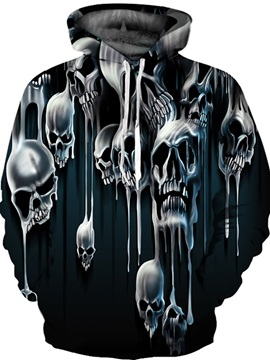Cool Long Sleeve Horrible Skulls Pattern 3D Painted Hoodie