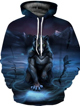Unisex Pullover Kangaroo Pocket Workout Vibrant Color 3D Painted Hoodie