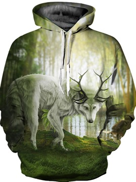 Funny Graphic Kangaroo Pocket Athletic Drawstring 3D Painted Hoodie