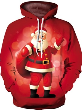 Unisex 3D Father Christmas Digital Print Pullover Hooded Sweatshirts with Pockets