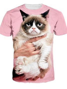 Cute Round Neck Cat Pattern Pink 3D Painted T-Shirt