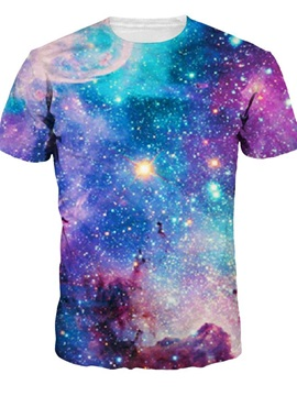 Amazing Round Neck Blue Galaxy Pattern 3D Painted T-Shirt