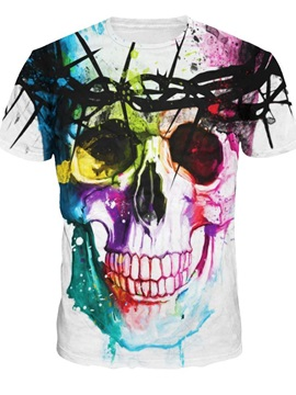 Fashion Round Neck Abstract Skeleton 3D Painted T-Shirt