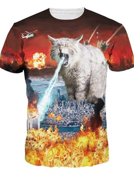 Creative Round Neck Huge Cats Pray Water Pattern 3D Painted T-Shirt