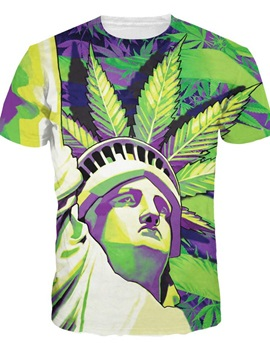 Modern Round Neck Statue of Liberty Pattern 3D Painted T-Shirt