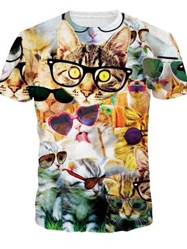 Lovely Round Neck Kinds of Cats with Glasses Pattern 3D Painted T-Shirt