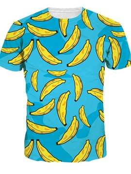 Lovely Round Neck Bananas Pattern Blue 3D Painted T-Shirt