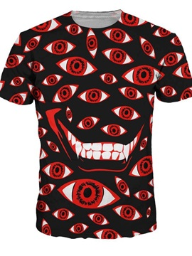 Round Neck Eyes Pattern Black 3D Painted T-Shirt