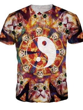 Round Neck Cats and Yin and Yang Pattern 3D Painted T-Shirt