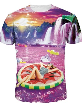 Pretty Round Neck Waterfall and Beauty Pattern Pink 3D Painted T-Shirt