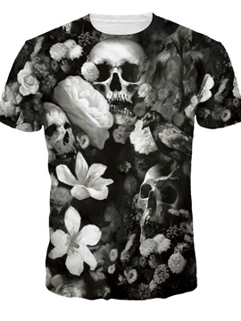 Cool Round Neck Skulls Pattern Grey 3D Painted T-Shirt
