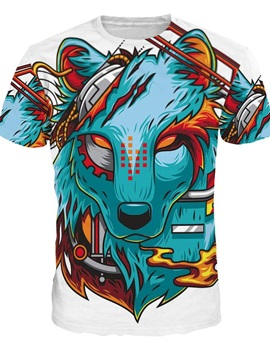 Cool Round Neck Cartoon Wolf Face Pattern 3D Painted T-Shirt