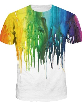 Rainbow Colorful Pattern Modest Round Neck 3D Painted T-Shirt