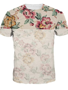 Cute Round Neck Special Flowers Pattern 3D Painted T-Shirt