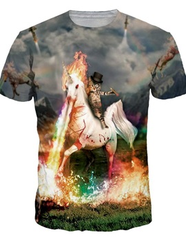 Special Round Neck Horse and Cat Pattern 3D Painted T-Shirt