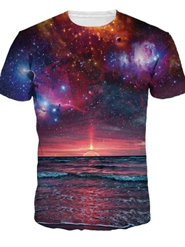 Galaxy Sunset Sea Universal Round Neck Design Short Sleeve 3D Painted T-Shirt