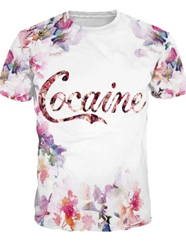 Pretty Round Neck Floral Pattern White 3D Painted T-Shirt