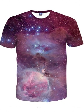Purple Galaxy Pattern Spandex Great Quality Round Neck 3D Painted T-Shirt