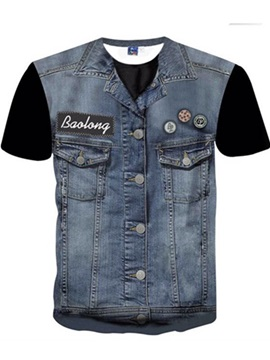 Fashion Round Neck Cowboy Waistcoat Pattern 3D Painted T-Shirt