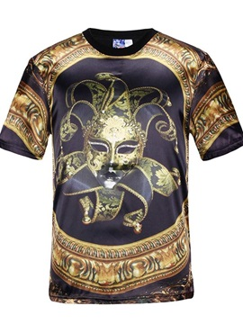 Round Neck Gold Mask Pattern Black 3D Painted T-Shirt