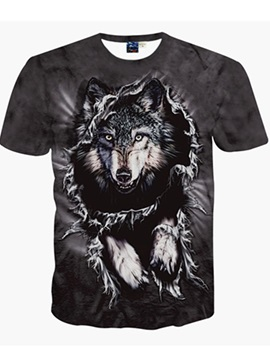 Wolf Black Unisex Short Sleeve Crewneck 3D Pattern T-Shirt