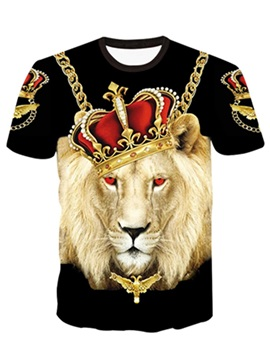 Super Cool Round Neck Lion King Pattern Black 3D Painted T-Shirt