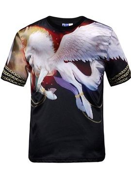 Modern Round Neck Horse with Wing Pattern Black 3D Painted T-Shirt