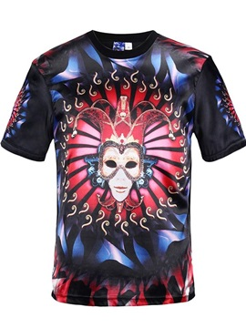 Special Round Neck Mask Face Pattern Black 3D Painted T-Shirt