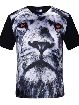 Super Round Neck White Lion Face Pattern Black 3D Painted T-Shirt