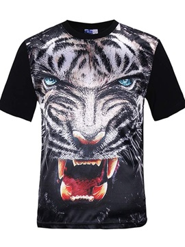 Cool Round Neck White Tiger Face Pattern Black 3D Painted T-Shirt