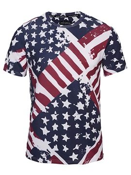 Round Neck Unique Stripe and Stars Pattern Side Zipper 3D Painted T-Shirt