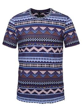 Cute Round Neck Geometry Pattern Side Zipper 3D Painted T-Shirt