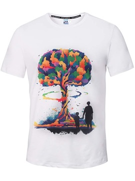 Round Neck Colorful Tree with Two Mans Pattern White 3D Painted T-Shirt