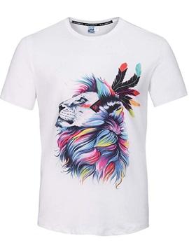 Round Neck Cartoon Man Dance Pattern White 3D Painted T-Shirt