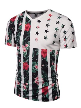 Pretty V Neck Floral Stripe Pattern 3D Painted T-Shirt