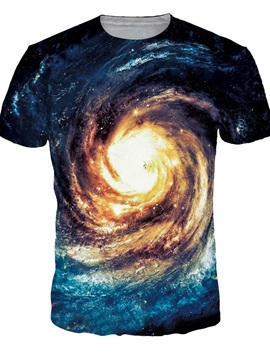 Special Round Neck Vortex Galaxy Pattern 3D Painted T-Shirt
