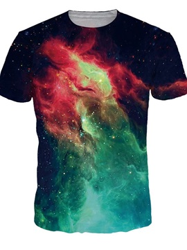 Special Round Neck Creative Galaxy Pattern 3D Painted T-Shirt