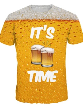 Summer Beer Pattern Happy Hour Round Neck 3D Painted T-Shirt for Men&Women